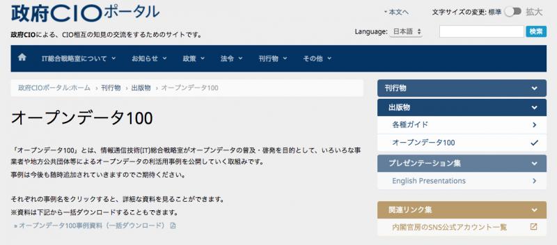 政府CIOポータル「オープンデータ100」にPARKFULが掲載されました!